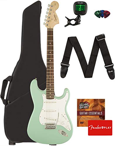 Fender Squier Affinity Stratocaster - Surf Green Bundle with Gig Bag, Tuner, Strap, Picks, and Austin Bazaar Instructional DVD