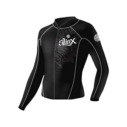 PAWHITS Neoprenanzug Thermo-Neopren Jacke 2 mm Lange Ärmel Sportanzug für Damen und Herren Unterwasserschwimmen Surf Strand Snorkeling Erwachsene XL Schwarz