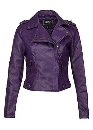 Glam and Gloria Veste de motard en cuir synthétique violet pour femme - Violet - 38