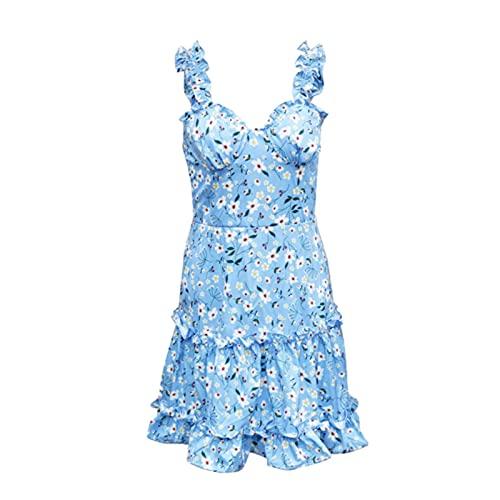 2021 Fashion Trend Women's Sexy V Collar Suspender Dress Summer Boho Floral Backless Mini Sleeveless Dress