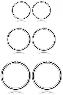 in acciaio inox Flongo Set di orecchini da donna e da uomo con ciondolo a forma di spilla di sicurezza orecchini a cerchio nero argento oro colorato stile gotico punk 8 pezzi