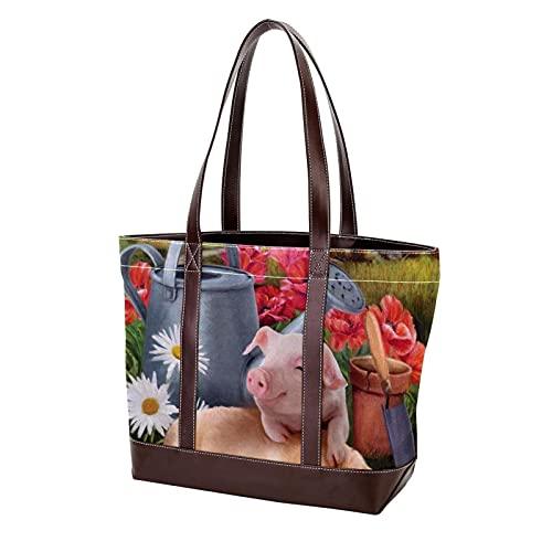 Leichte Umhängetasche für Mutter Frauen Mädchen Damen Student Schwein Katze Hund Kabine Gießkanne Umhängetaschen Handtaschen Geldbörse Einkaufen