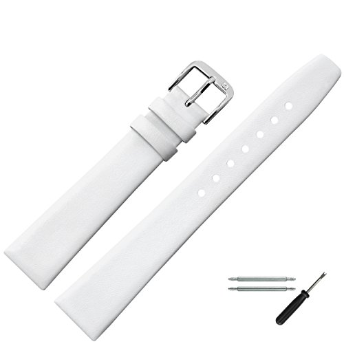 MARBURGER Uhrenarmband 16mm Leder Weiß Glatt - Werkzeug Montage Set 7101620000120