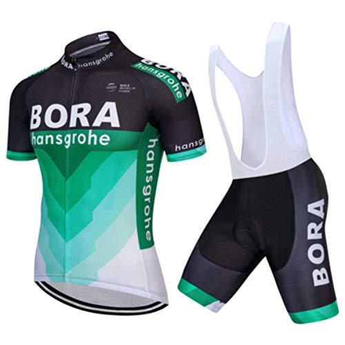 SUHINFE Maglia Ciclismo Uomo Manica Corta, Abbigliamento Sportivo da Ciclismo con Pantaloni Ciclismo Salopette Asciugatura Rapida per MTB Ciclista, BOR-Bbis, L