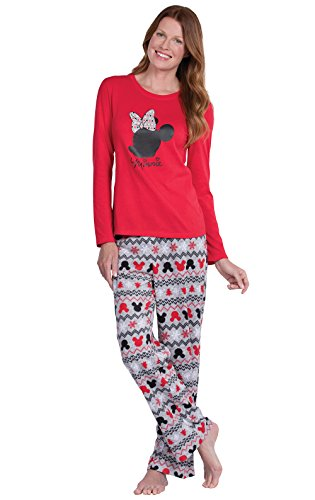 PajamaGram Fun Womens Christmas Pajamas - Disney Pajamas Women, Red, S, 4-6