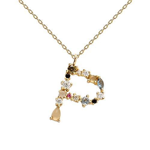 PDPAOLA - Collar Letra P - Plata de Ley 925 Bañada en Oro de 18k - Joyas para Mujer