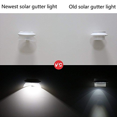 iSunMoon 6 Pack Upgraded Version Gutter Solar Lights Outdoor 9 LED Gutter Lights Solar Powered for Fence Roof Gutter Garden Yard Wall Lamp