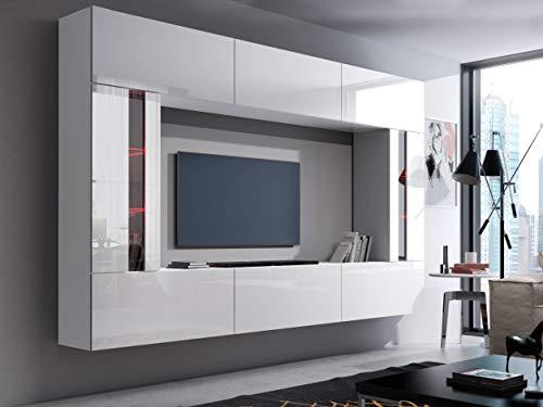 HomeDirectLTD Future 28, Conjunto de Muebles De Salón, Módulo Bajo para TV Y Multimedia, Unidad de Entretenimiento, Mueble TV, Suite a Estrenar (Iluminación RGB LED Opcional) (28_HG_W_2, RGB Remoto)