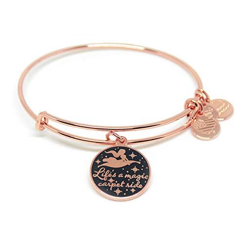 Alex and ANI Disney Parks Princess Jasmine Life's A Magic Carpet Ride Bangle - Inspirational Quote - Charm Bracelet Jewelry Gift (Rose Gold Finish)