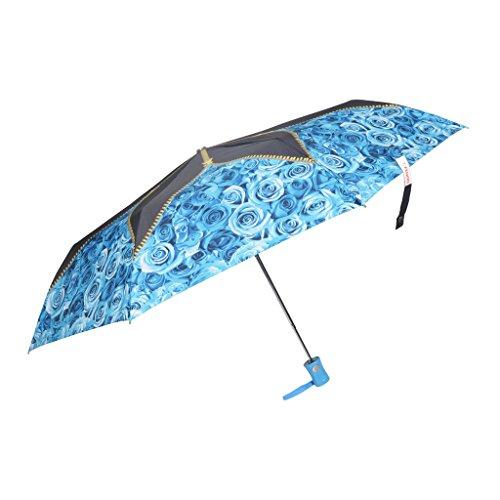Fendo 3 fold Automatic Flower Print Travel umbrella for girls