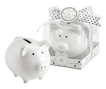 Lil Saver Favor Ceramic Mini-Piggy Bank in Gift Box with Polka-Dot Bow