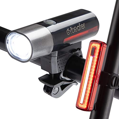 Cycleafer Bike Lights + Rear Bike Lights, 3 Year Warranty, Bike Lights Set, Road Bike Lights, Premium Quality Bicycle Light, Rechargable Bike Lights l Module aubX l UK Company