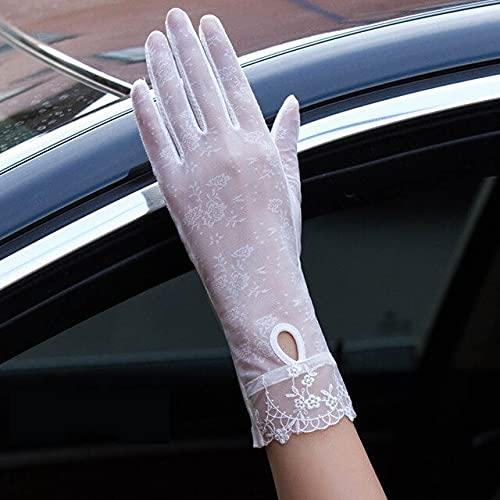Guantes Sexis de Verano para Mujer con protección Solar UV, Guantes Cortos para Mujer, Moda, Encaje de Seda de Hielo, conducción de Pantalla táctil Fina, Guantes para Mujer-06A White