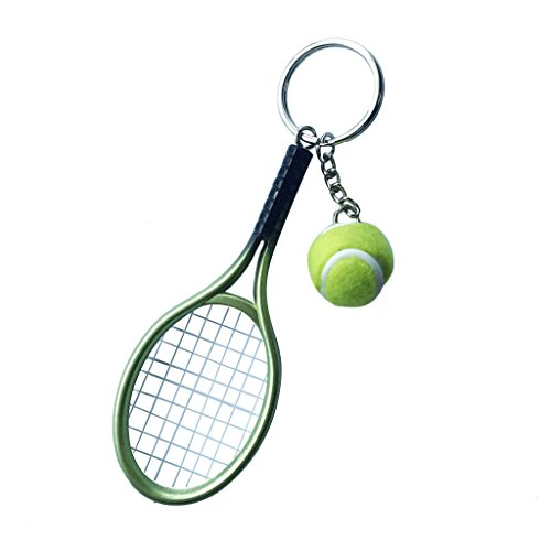 Llavero Colgante Anillo Joya Clave Mini Pelota de Tenis Raqueta Decoración Bolso...