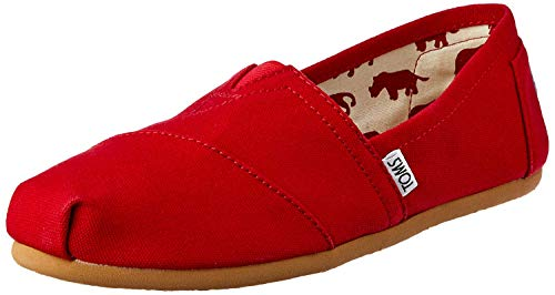 Toms Women's Classic Canvas Red Slip-on Shoe - 7.5 B(M) US