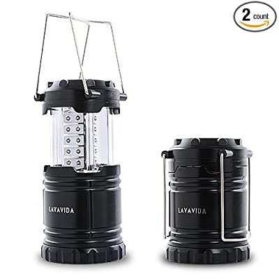 LAVAVIDA LED Camping Lantern - 2 Pack Safety Lamp Light for Emergency, Hiking, Fishing, Blackouts, Hurricanes, Storms - Portable, Collapsible, Water Resistant - Ultra Bright Flashlight - Black