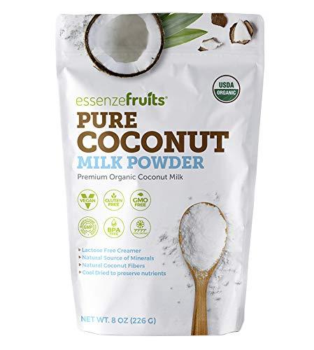 Essenzefruits Pure Organic Coconut Milk Powder - Premium Maltodextrin Free, No Sugar Added, Dairy Free, USDA Organic, Vegan, Keto & Paleo Friendly, No Additives, Pre Biotic Fibers, 27 Servings - 8 Oz