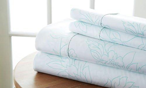 Simply Soft 4 Piece Sheet Set Vines Patterned Full Aqua product image