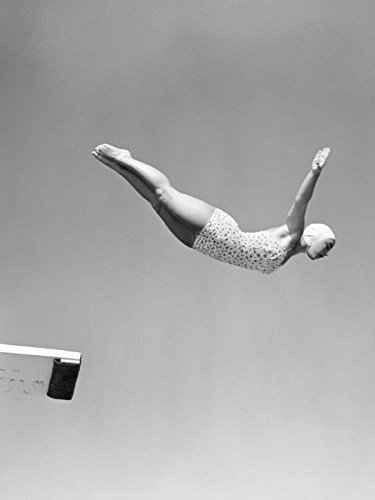 Feeling at home ROLLED-CANVAS-fine-art-print-1950s-Woman-Swan-Dive-Off-Diving-Board-Games-&-Sports-48x36_in