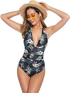 Abollria 2020 Traje de Baño de Una Pieza para Mujer con Push-Up Ropa de Baño sin Hombros Floral Monokinis Halter Bañador Escotado Sexy para Verano