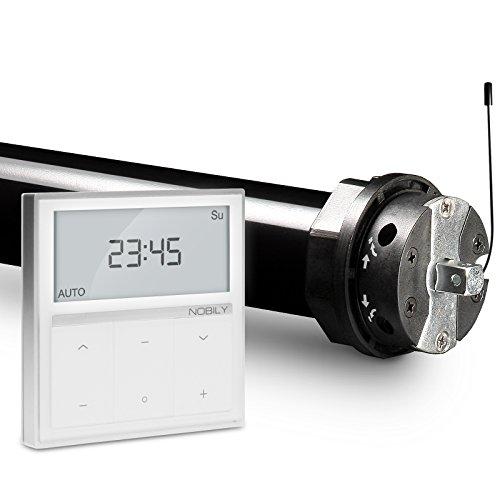 NOBILY Profi-Set elektromechanischer Funk-Rolladenmotor PR5 20/15-60 inkl. Funk-Timer (Zeitschaltuhr) Exquisit Wandsender für die 60mm Achtkant-Welle - bis 50Kg
