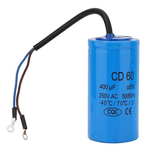 Condensatore di Funzionamento CD60 con Cavo 250V AC 400uF 50/60Hz Condensatore Motore Condensatore Rotondo per Compressore D'aria del Motore