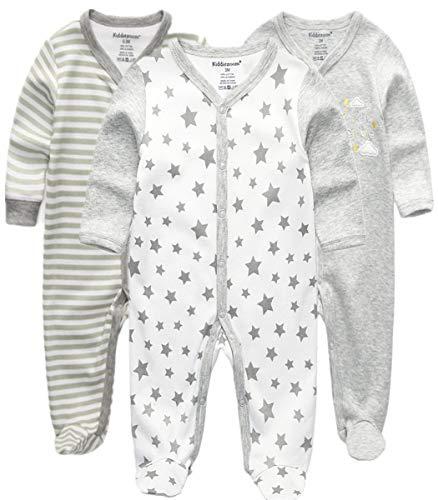 Kiddiezoom Baby-Jungen Mädchen Schlafstrampler, 3er Pack,6-9 Monate
