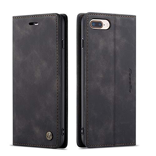 QLTYPRI Hülle für iPhone 6 Plus 6S Plus, Vintage Dünne Handyhülle mit Kartenfach Geld Slot Ständer PU Ledertasche TPU Bumper Flip Schutzhülle Kompatibel mit iPhone 6 Plus 6S Plus - Schwarz