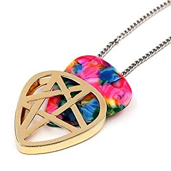 PICKRING Star Shaped Guitar Pick Holder Necklace for Guitarists/guitar picks keeper storage pendant necklace stainless steel music lovers musicians gifts  Gold