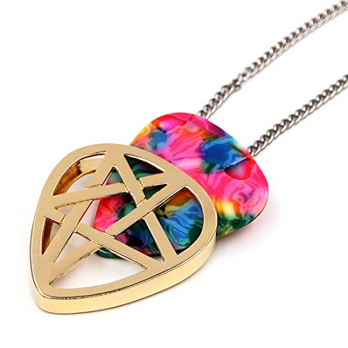 PICKRING Star Shaped Guitar Pick Holder Necklace for Guitarists/guitar picks keeper storage pendant necklace stainless steel music lovers musicians gifts (Gold)