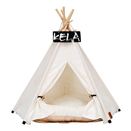 Yiwa tent voor katten, honden, wit, opvouwbaar, met slaapmat, voor reisgebruik, voor huisdieren in de open lucht