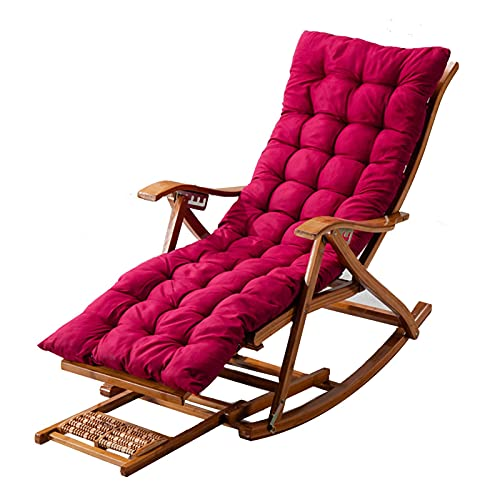 AWCPP Faltende Sonnenliege, Bambus, Verstellbarer Lazy-Stuhl, Mit Dehnbarer Fußstütze Und Abnehmbarer Baumwollkissen, Tragbarer Gartengerechter Im Freien, Ladung 200Kg,Rot