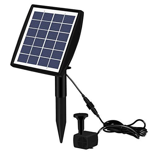 Con enchufe de tierra 6V/2W Fuente solar 4 tipos de agua, fuente de ducha solar de pájaros, adecuado para bañeras de pájaros, estanques, piscinas, peceras, acuarios y jardines