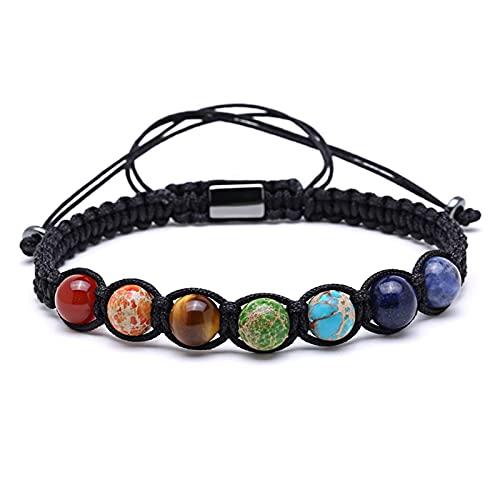 Chtom Pulsera de cuentas, Pulsera de cuerda de pulseras para mujeres y hombres Pulsera hecha a mano de regalo pulseras de San Valentín (color: colorido)