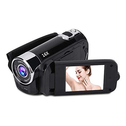 Yuyanshop Videocámara Full HD 1080P Vlogging Cámara 270° Rotación Videocámara 16X Zoom Digital 2.7 pulgadas Video DV Camera Recorder (Negro)