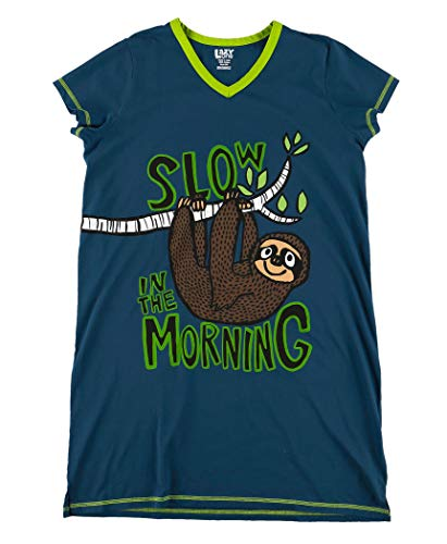 Lazy One V-Neck Nightshirts for Women, Animal Designs, Sloth, Not A Morning Person (Slow in The Moring, S/M)