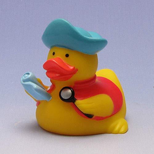 Canard de bain pirate Gilet Rouge et carte au trésor I AUFRECHT flottant I Duck Boutique I L : 7 cm
