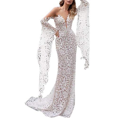 MAYOGO Spitzen Festliche Kleid Weiße für Damen Hochzeit Elegant FishtailKleid Durchsichtige Shoulder Bandeau Kleid mit Langarm Cocktailkleid Brautkleider Hochzeitskleider