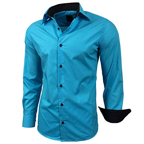 Kontrast Business Anzug Freizeit Polo Slim Fit Figurbetont Hemd Langarmhemd R-44, Farbe:Türkis;Größe:L