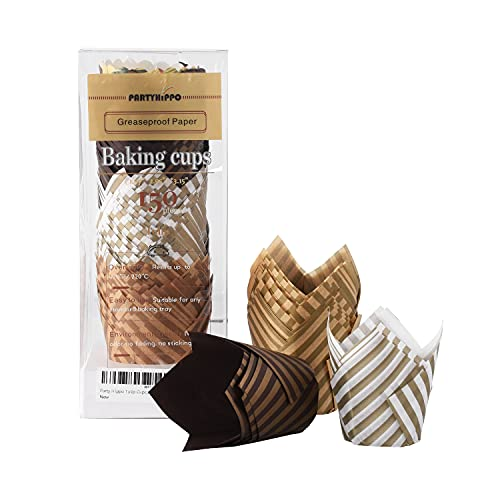 Party Hippo Tulip Cupcake Liners Baking Paper Cups 150 pcs Holders Greaseproof Muffin Cases Wrappers for Wedding Birthday Party Baby Shower, Standard Size (Stripe)…