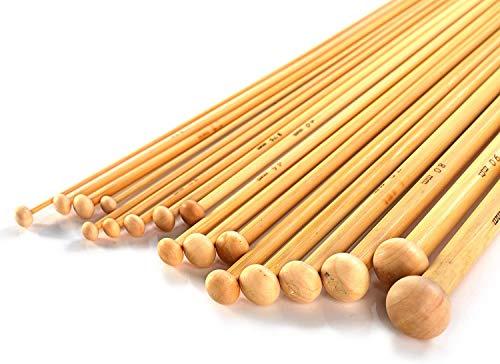 Bamboo Knitting Needle Set - 36 Pcs | Single Point Smooth Finish Set | 18...