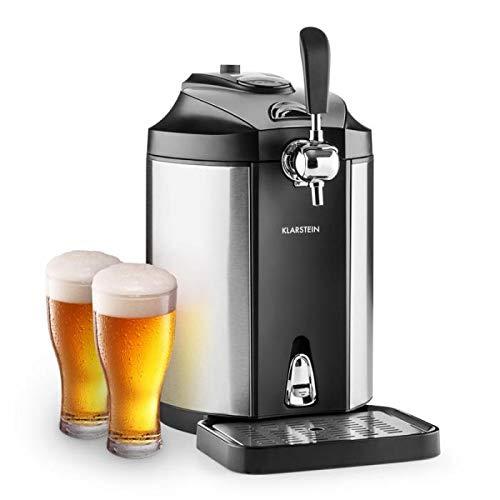 Klarstein Skal Silver Edition - Dispensador de cerveza, Tirador universal, Barriles de 5L, Refrigerador termoeléctrico, Indicador LED, Cartuchos CO², Adaptador, Acero inoxidable, Negro/gris