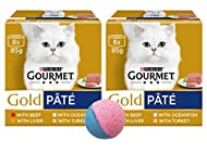 Gourmet Gold Pate Wet Cat Food Tins Variety Pack | Beef, Liver, Ocean Fish, Turkey | Pack of 16 x 85...