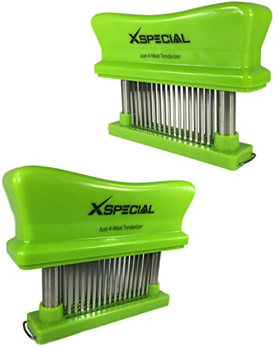 CHEF TENDERIZERS GIFTS > Just-4-Meat Tenderizer 48 Needles Stainless Steel - Best Kitchen Handheld Gadgets for Tenderizing Steak Beef Chicken Pork By XSpecial (Green 2 Pack/Individually Boxed)