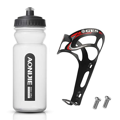 GES Ultra-light Alloy Aluminum Universal Bike Water Bottle Cages Cycling Kettle Holder Cage Bracket Mountain Bicycle Water Bottle Holder Bracket Drink Water Bottle Cage Holder (Black+Red with Bottle)