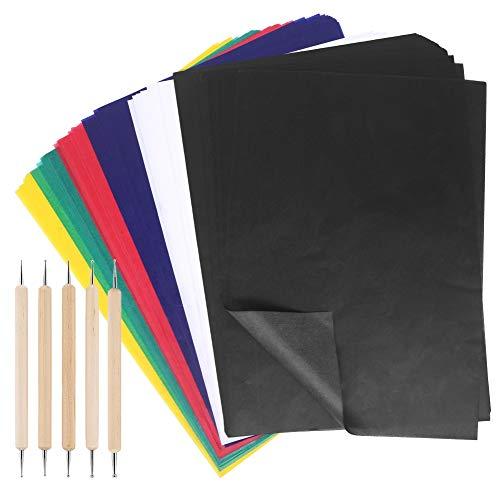 100 Blatt mehrfarbiges Transferpapier, wasserlösliches Transparentpapier mit 5 Stück Prägestiften, Werkzeug, Transfermuster auf Stoff, Stoff, Leinwand, Zubehör zum Nähen