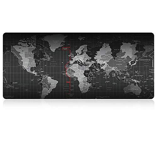 Bartram マウスパッド 大型 赤いエッジ キーボードマット 世界地図で印刷 滑り止め マウスを広く操作できる 光学式マウス対応 FPSゲームに適用 (300×800×3mm)