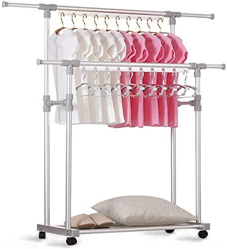 Inmorven Metall Kleiderständer auf Rollen, Kleiderstange, Mobiler Garderobenständer Doppelstangen, Schuhregal Kleiderstange Ausziehbar bis 110 kg Silber/Roségold