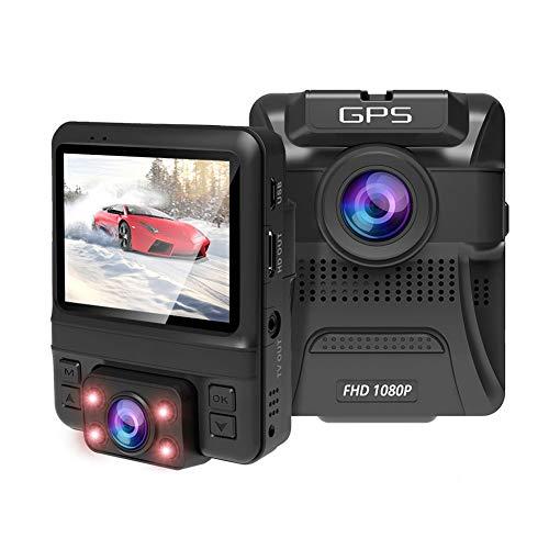 Dash Cam dubbele 1080p Full HD groothoek 150 ° nachtzicht infrarood camera met Sony sensor, GPS, loopopname, parkeerplaatsmonitor, With32Gcard