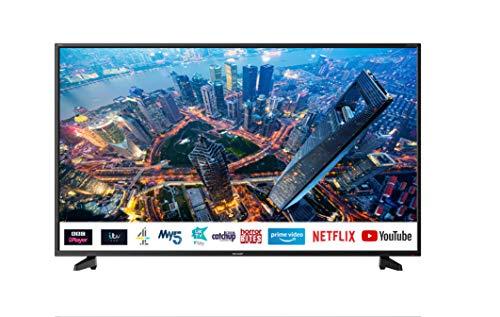 Sharp 4T-C55BJ2KE2FB 55 Inch 4K UHD HDR Smart TV with Freeview Play, 3 x HDMI, 2 x USB 2.0, USB 3.0, USB Media Player - Black